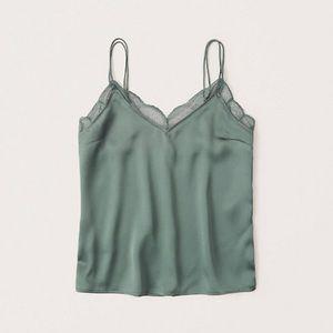 Green Lace Trim Strappy Cami